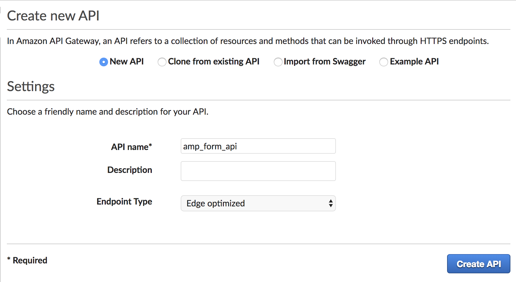 Processing forms on amp pages with amazon api gateway and aws lambda aws api gateway create new api malvernweather Image collections
